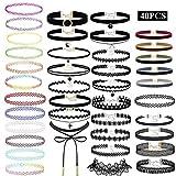 Conjunto de Collar de Gargantilla 40 Piezas Gargantilla de Gargantilla, Collar de Gargantilla de Terciopelo, Collar gótico, Tatuaje de Gargantilla Negra para Mujeres niñas (Negro)
