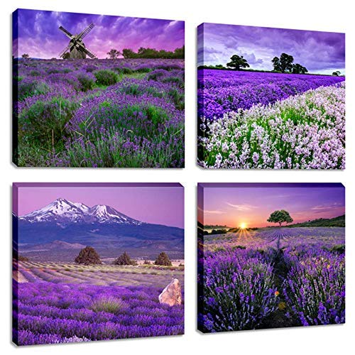 Landscape Flower Picture Canvas Wall Art Contemporary Vibrant Purple Lavender Flowers Painting Fantastic Provence Fields Artwork Sets of 4 Piece Canvas Print for Bedroom Decoration