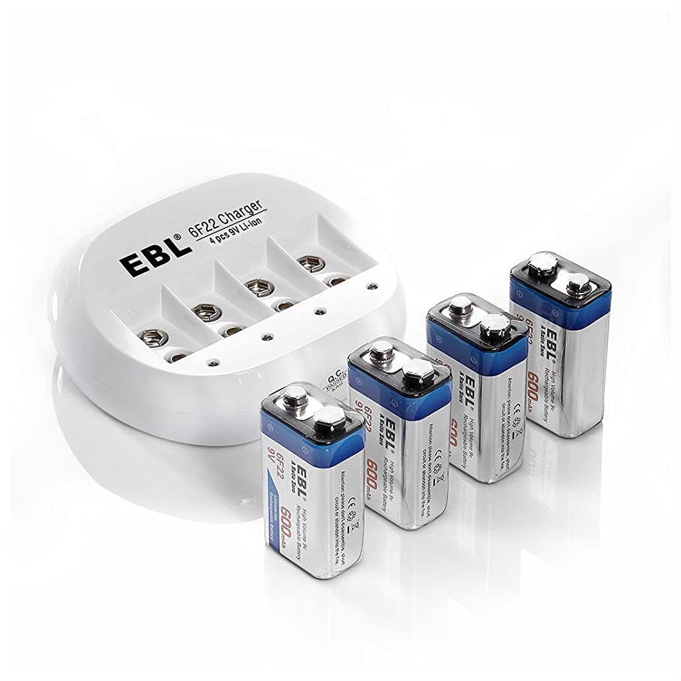 4x EBL 600mAh Li-ion 9V 9 Volt 6F22 Lithium-ion Rechargeable Battery + Charger