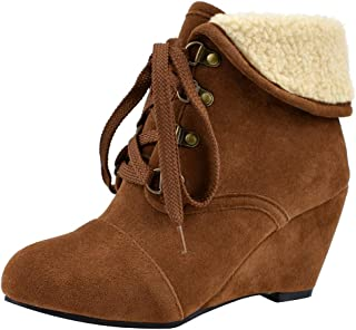 JOJONUNU Women Classic Wedge Heel Booties Winter Fleece