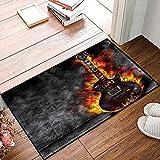 QDYLM Alfombra de baño de Microfibra esponjosa,Quemando Guitarra Música Fuego Llama Rock N Roll alfombras de Ducha de Suave Absorbente de Agua, 50x80 cm