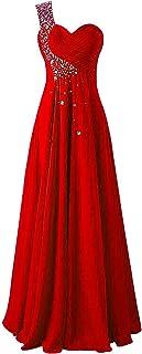 JAEDEN Vestidos de Baile Largo Gasa Vestido de Noche Vestido de la Dama de Honor Un Hombro