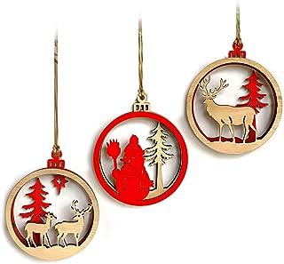 BESTOYARD 3pcs Wooden Christmas Tree Decoration Ornaments Hanging 3D Christmas Snowman Reindeer Shapes Cutout