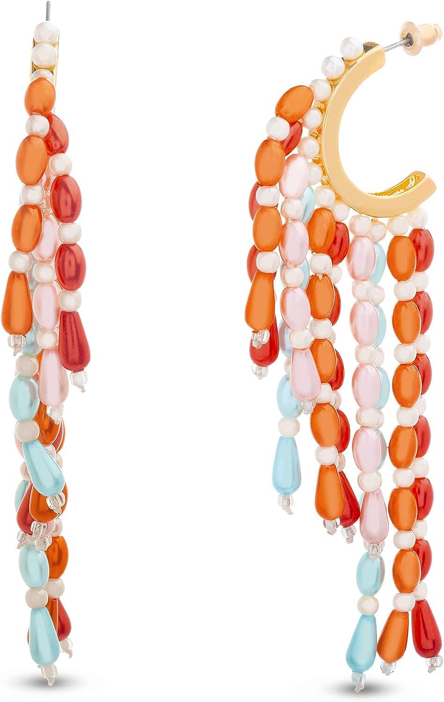 Steve Madden Red Pink Blue Beaded Fringe C Hoop Earrings for Women