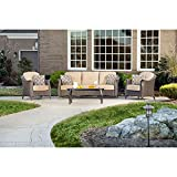 Hanover GRAMERCY4PC Gramercy 4-Piece All-Weather Wicker Patio Seating Set Outdoor Furniture, Country Cork