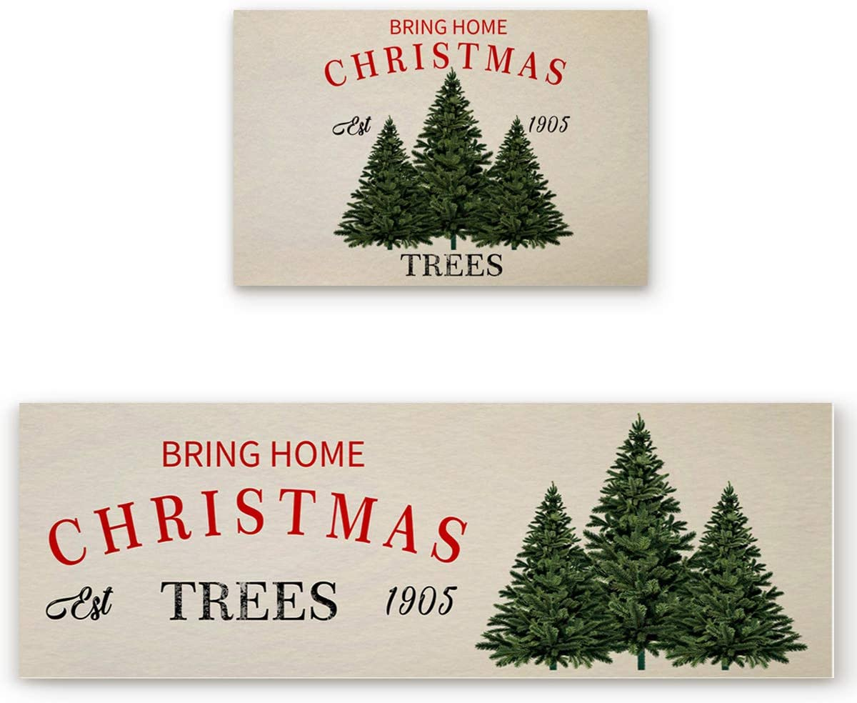 Fees free Kitchen Rugs Sets 2 Piece Bring Christmas Home Tree Retro Three In a popularity