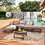 Festival Depot 6 Pieces Patio Outdoor Furniture Conversation Set Sectional Corner Sofa, Wicker Chairs with Ottoman and Seating Thick Soft Couch Cushion(Grey)