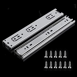 Drawer Slides, OHOME 10 inch 3 Section Ball Bearing Side Mounted Drawer Slider for Cabinet Kitchen (1 Pair)