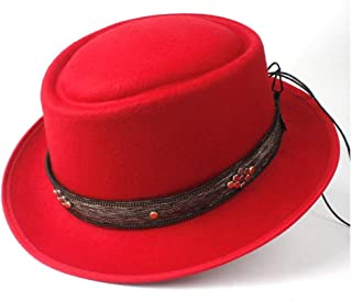 2019 Mens Womens Hats Unisex Men Women Flat Top Pop Church Soft Autumn Winter Fashion New Pork Pie Hat Flat Casual Hat Panama Jazz Hat Vintage Trilby Hat Outdoor Wild (Color : Red, Size : 58)
