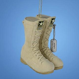 "Kurt Adler 3 "" U.S. Army Flocked Combat Boots Christmas Ornament, Ivory"