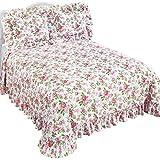 Blooming Pink Garden Roses Margaux Plisse Bedspread