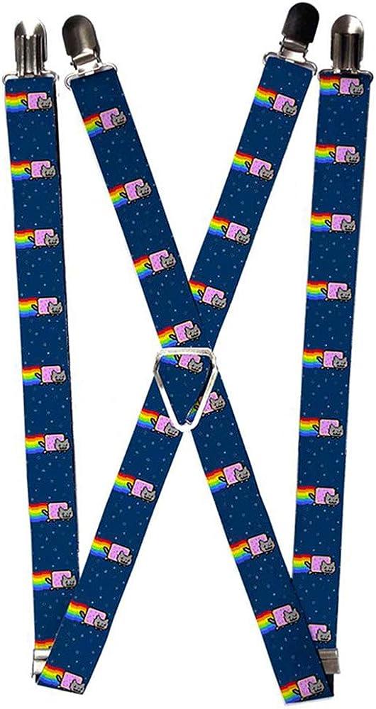 Buckle-Down Suspenders-Nyan Cat W/Rainbow Streak Repeat Blue