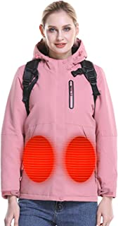 Women's Soft Shell Heated Jacket with Detachable Hood and Battery Pack,Small Pink