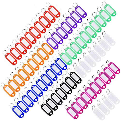Schlüsselanhänger Schlüsselschilder 40 Stück Beschriftbar ISKM Schlüsselschilder zum Beschriften mit Schlüsselring auswechselbare Etiketten in Kunststoff Farbig Sortiert (8 Farben)