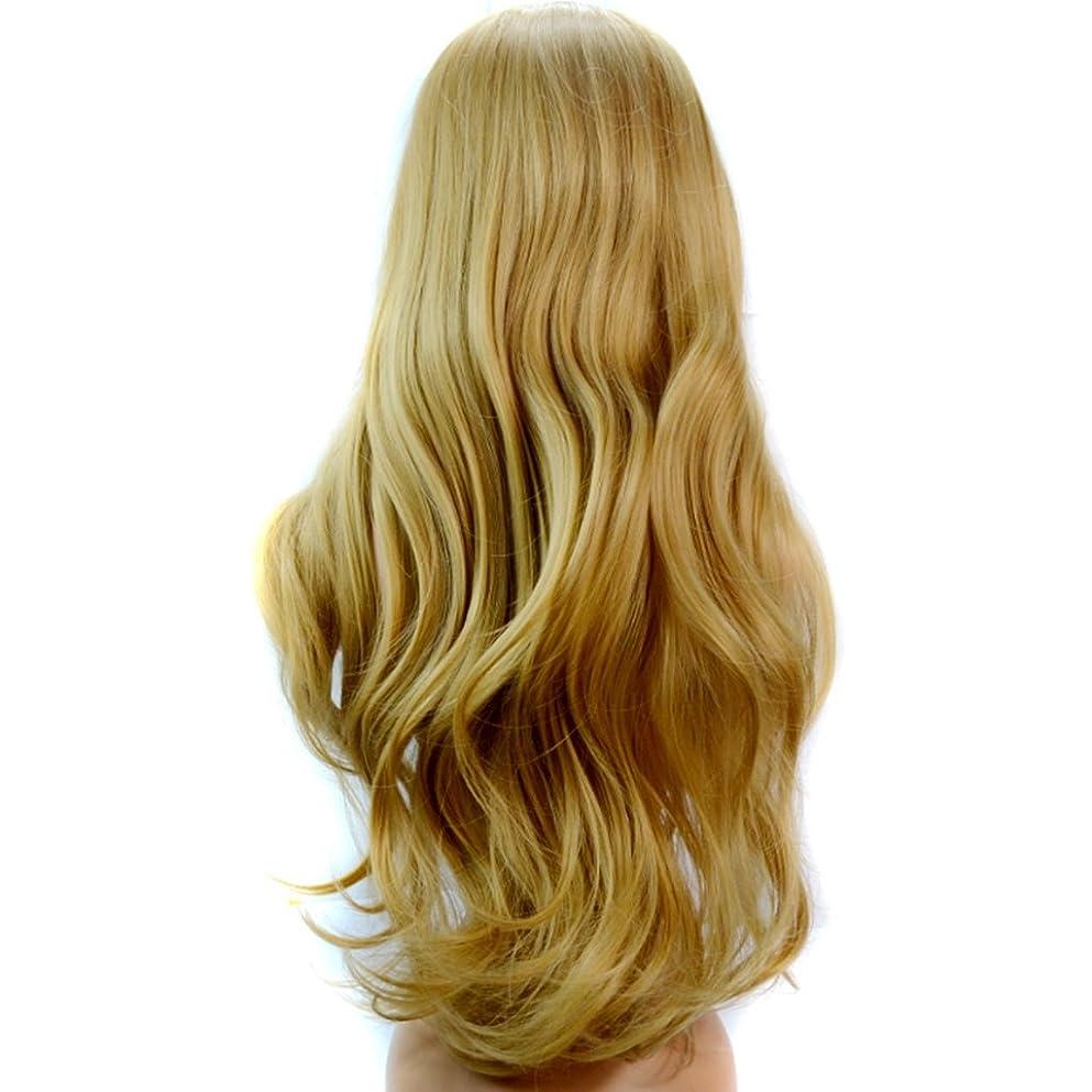 アンペアチャンピオンごめんなさいDoyvanntgo ナチュラルウィメンズウィッグ-65cmロングカーリーウィッグ、大きな波状部分斜めバンズウィッグゴールドヘア (Color : Gold)