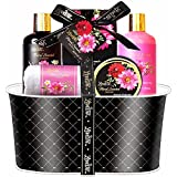 Spa Gift Basket - Bath and Body Works Set with Floral Fragrance For Women by Lovestee - Spa Bath Kit & Bath Gift Basket Birthday Gift includes Shower Ge, Body Lotion, Bubble Bath, Hand Lotion, Bath