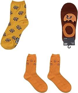 PINGJING Kpop BTS Bangtan Boys Cartoon Printed Cotton Socks 3Pairs per Set