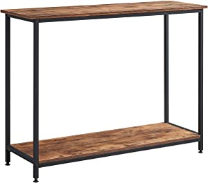AMOAK Console Table, Sofa Table, Entryway Table, for Entryway, Living Room, 2-tie Shelf, Rustic Brown