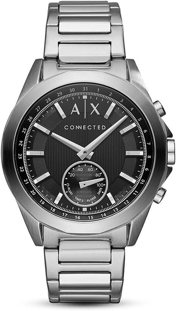 Armani exchange, orologio smartwatch ibrido, in acciaio, android os 4.4+ AXT1006