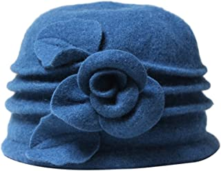 Telamee Women 100% Wool Felt Round Top Cloche Hat Fedoras Trilby with Bow Flower