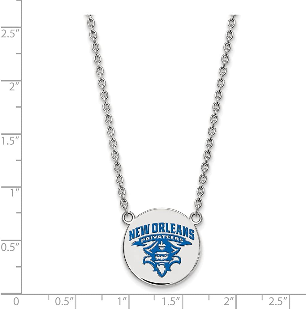 Width = 19mm Solid 925 Sterling Silver Official University of New Orleans Large Enamel Disc Necklace
