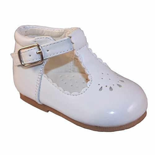 2e26a9fecb6 Sevva Baby Infant Girls Spanish Style Patent T-Bar Faux Leather Non Slip  First Walking