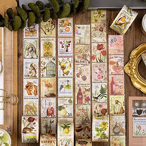 4 rollos de pegatinas de álbum de recortes con sello vintage, plantas, flores, pájaros para álbum de recortes,...