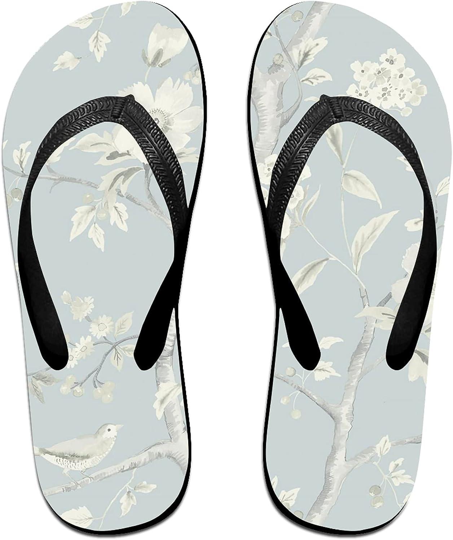 Flower Tree Bird on Light Blue Flip-Flop Sandals for Summer Beach, Slippers for Men Women