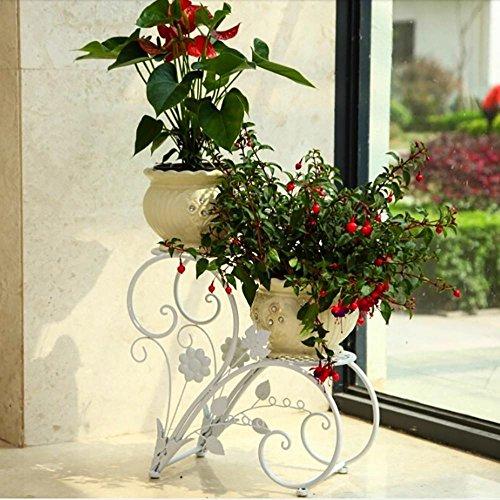 LLLXUHA Art de Fer métal Deuxième étage Support de Fleurs, Simple Type de Plancher Balcon Pot à Fleurs Audacieux et épais Plantes charnues Présentoir,23 * 43 * 42cm, Blanc
