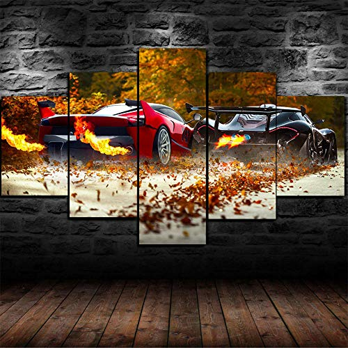 45Tdfc 5 Unidades Pictures McLar P1 vs Ferr FXX K Car Painting Home Decor Modern Wall Art Canvas HD Prints Frame Modular Poster