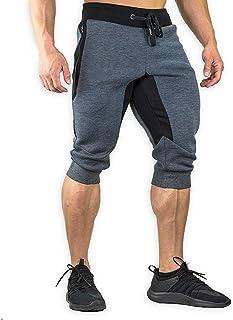 TBMPOY Men's Cotton Casual Shorts 3/4 Jogger Capri Pants Breathable Below Knee Short Pants with Zipper Pockets