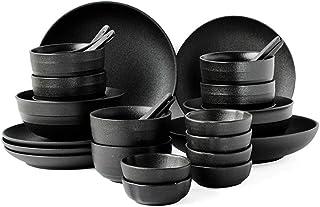 Élégant Set de couverts rétro de style japonais Set de combinaison de plaques occidentales Set de dîner noir Durable (Colo...