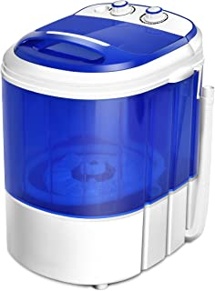 COSTWAY Mini Washing Machine, Portable Washer for Compact Laundry, Small Semi-Automatic Compact Washing Machine with Timer Control Single Translucent Tub 7lbs Capacity(Blue + White)