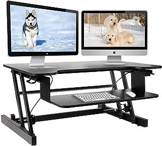 Height Adjustable Standing Desk & Stand Up Desk - Sit Stand Desks Improve Productivity & Health with Standing Workstation - Best Standup Desk Riser & Work Desk for Laptops - Stops Back Pain (Black)