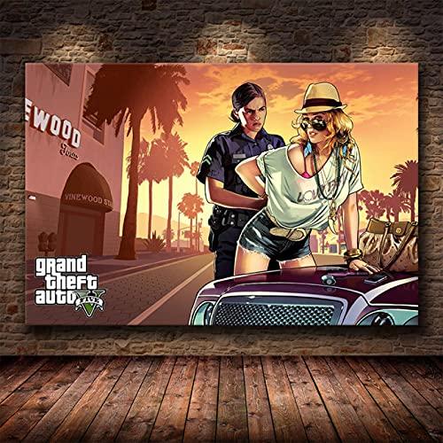 Yiwuyishi Grand Auto Theft V GTA 5 Póster de Lienzo con impresión artística Cuadros de Pared para la decoración de la Sala de Estar Dormitorio del hogar Decoración de la...