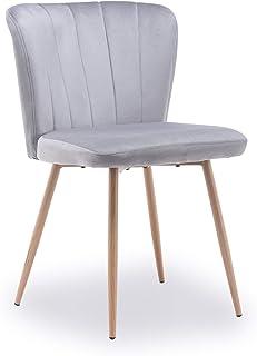 æ— Sillas de comedor de terciopelo, sillas de cocina, tapizadas de tela, asiento acolchado con patas de madera y respaldo, tocador para dormitorio, muebles de cocina, cafetería