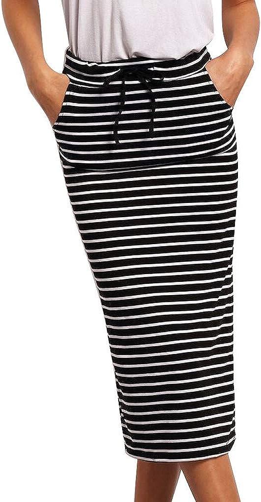 ATACT Striped Midi Cheap bargain Skirts for Bodycon K Women Spasm price Summer Slim