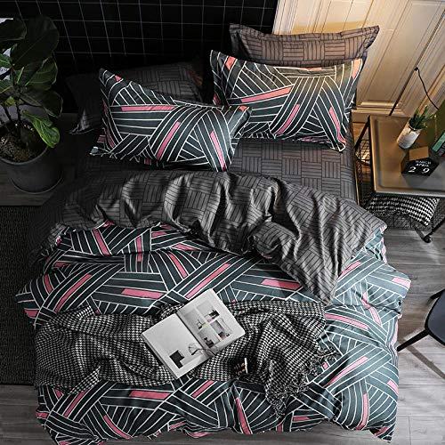 ARTEZXX beddengoed set 3-delig - zwart volleybal streep patroon - 100% polyester stof dekbedovertrek set gebruik zachte rimpel gratis hypoallergene rits & hoekbinders (1 dekbedovertrek + 2 kussenslopen)