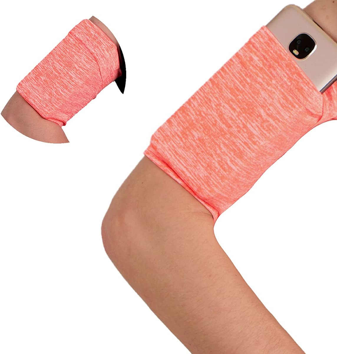 SMALL Armband Wristband for Cellphone Running - Cell Phone Wrist Band Sleeve Arm Bag - Sports Stretchy Spandex Arm Band Strap Holder Pouch Case for Yoga Walking Hiking Running Elastic - Orange Melange
