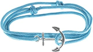 West Coast Paracord Men's Adjustable Nautical Anchor and Fish Hook Wrap Cuff Bracelets - Available in a Variety of Finishes and Colors - Made of Nylon Rope