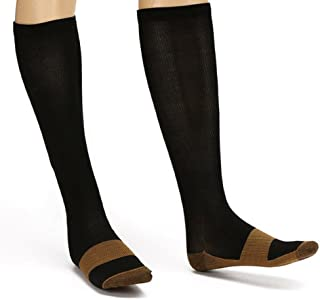 Copper Compression Socks Knee High - for Men & Women - Boosts Circulation, Provides Support, Helps Soothes Tired Leg & Feet