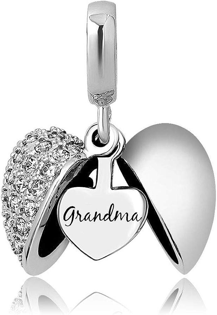 KunBead Grandma Heart I Love You Birthstone Dangle Charms for Bracelets Necklace Birthday Gift for Women Girls