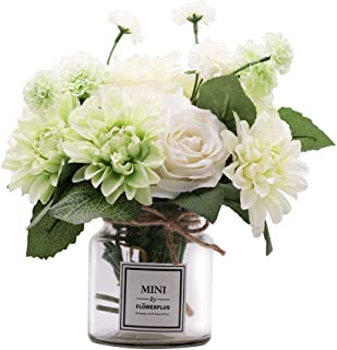 MISBEST Artificial Flowers with Vase,Faux Rose Dahlia Chrysanthemum in ins Style Vase, Faux Flower Arrangements for Home Decor Green