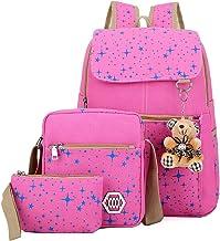 YXCmz Schultaschen für Kinder, 3-teiliger Rucksack aus Segeltuch für Mädchen, Bookbag-Laptop-Schulrucksack-Pink