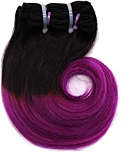 Zonghao Ombre Purple Body Wave Virgin Brazilian Human Hair 4 Bundles/Pack 8inch Short Weave Hairstyle Sew in Hair Extensions (100g, Black-Purple)