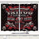 JISMUCI Cortina de Cocina Vintage Punk Style Tattoo Pirate Sailor Bettys Skull Tema Divertido Juegos de Tratamiento de Ventanas Cortinas 2 Paneles con Ganchos,140x100CM