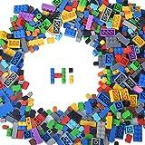 Building Bricks Compatible with Lego - 1000 Pieces Bulk Building Blocks in Random Color - Mixed Shape - Includes 2 Figures