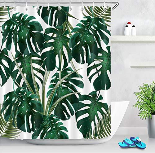 LB 180x200cm Extra Lang Duschvorhang Tropisch Dunkelgrün Monstera Blätter Wasserdicht Anti Schimmel Weiß Polyester Badezimmer Vorhänge mit 12 Haken