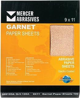 "Mercer Industries 205120C Grit 120 C-Weight 9"" x 11"" Garnet Paper Sheets (100-Pack)"