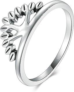 BORUO 925 纯银戒指,活树戒指 2mm 尺寸 4-12